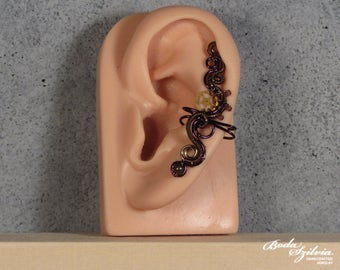 Purple and bronze STEAMPUNK EAR CUFF - gear ear cuff, wire wrapped ear cuff, no piercing ear cuff, adjustable ear cuff, steampunk jewelry