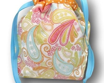 Sherbet Paisley - One Skein Project Bag for Knitting, Crochet, or Embroidery