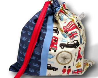 I Heart London - Duet Sheepie, A Large Project Bag for Knitting or Crochet