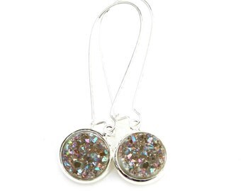 Druzy Earrings Silver Sugar Quartz Specks of Rainbow Sparkle Shimmer Luster Silver Long Dangles High Fashion Style Modern Style by Mei Faith