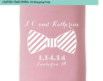 Custom Wedding Collapsible Can Coolers - Bow Tie
