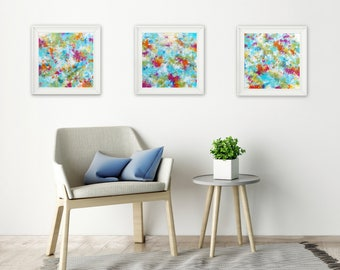 Set of 3 Abstract Printables - Abstract Expressionist - Square Abstract Prints - Colorful Wall Art - Modern Home Decor Contemporary Wall Art
