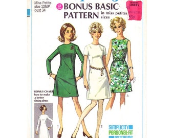 1960s Dress Pattern Simplicity 8049 Personal Fit Basic Dress Long Sleeve Sleeveless Dress Fitting Chart Womens Sewing Pattern Bust 34 UNCUT