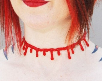 VonErickson's Original  Blood  choker  necklace Bite Red
