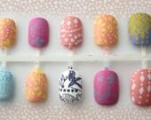 Pastel Pattern Matte Fake Press On Nails, Boho Chic Short Fake Nails, Matte Nails, Acrylic False Nail Set, Spring Nails, Ladies Accessories