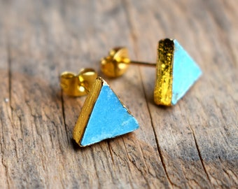 Turquoise Earrings,Gold Turquoise Earrings,Triangle Turquoise Earrings,Bohemian Turquoise,Rustic Turquoise,Turquoise Post Earrings,Summer