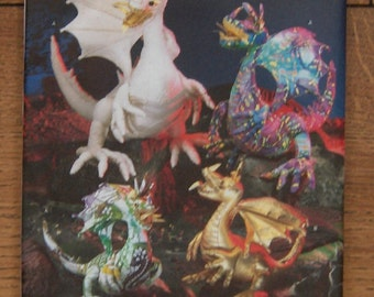 """2006 simplicity pattern 4063 stuffed dragon in 3 sizes 11"""" 15"""" 18""""   partly cut toy children decor"""