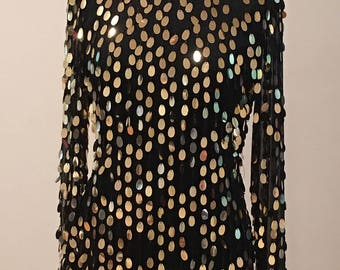 Black Silk and Gold Sequin Party Top - Flashy Sparkle Eye Catching - Long Sleeve Blouse - Cocktail Party - Metallic Gold - MEDIUM- 36 Bust