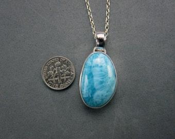 Larimar Pendant, Fine Silver & Sterling, Simple Larimar Pendant, Handmade