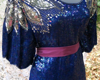 Large CHRISTMAS blouse Sequined POINSETTIA shouldered top of metallic blue and SILVER sequins, Cocktail Party, Formal dress Black tie event