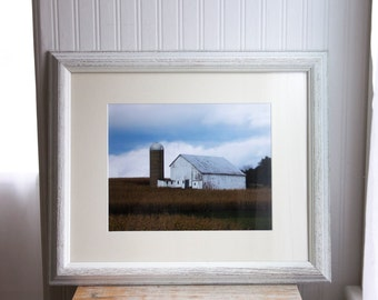 Barn Photography, Framed County Farm Picture, Old White Barn Landscape. Rustic Primitive Home Decor