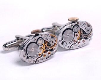 Antique 1950's Hamilton Watch Movements Steampunk Cuff Links