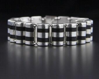 Vintage Mexican Sterling Silver Onyx Bracelet, Sterling Silver, Onyx Inlay, Barrel Style, Mexican Jewelry, Gomez, Taxco Bracelet, Modernist
