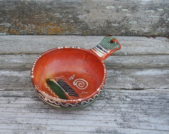 Vintage Rustic Redware Mexican Bowl