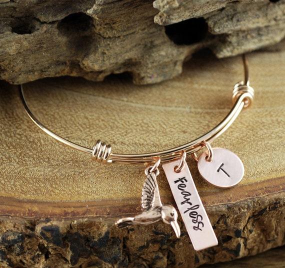 Hummingbird Jewelry, Rose Gold Hummingbird Bracelet, Bird Jewelry, Hummingbird Bracelet, Inspirational Bracelet, Stamped Initial Jewelry