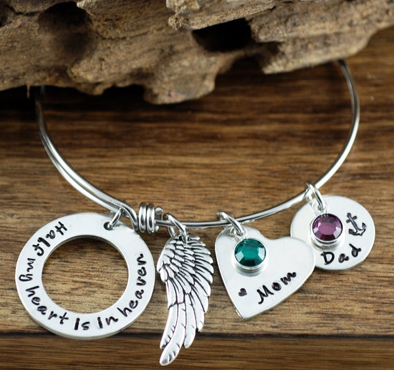 Half My Heart is In Heaven Bangle Bracelet, Bereavement Jewelry, Memorial Bangle Bracelet, Hand Stamped Charm Bracelet, Angel Wing Bracelet