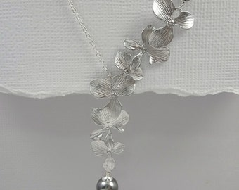Grey Pearl Necklace, Orchid Wedding Necklace, Orchid Wedding Jewelry, Grey Wedding Jewelry, Mother of the Bride Gift, Orchid Jewelry