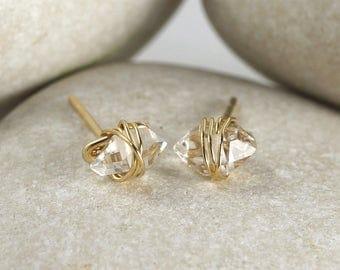 Mini Herkimer Diamond Earrings Wrapped in Gold Fill