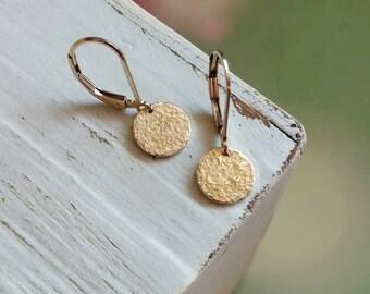 Gold Dangle Earrings, Everyday Earrings, Gold Fill Jewelry, Dainty Drop Earrings, Hammered Textured, Small Disc Earrings, Coin Earrings