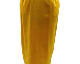 Vintage Yellow Midi Skirt Vintage Skirts For Women Yellow Knee Length Skirt Mid Length Skirts Midi Vintage Skirt Womens Vintage Skirts