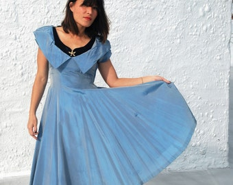 Vintage Early 1950s Glamorous Satin Periwinkle Blue Party Dress M/L