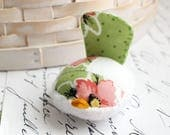 Pink and Green Floral Bird Pincushion Pin Keep Small Pin Cushion Handmade Pincushion