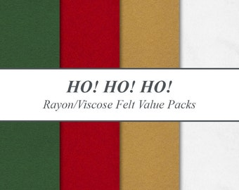 "Rayon Viscose Felt Sheets Value Packs - 9"" X 12"", Ho! Ho! Ho! Christmas Seasonal Holiday Pack, Multiple Pack Sizes Available"