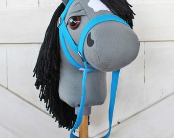 """Stick Horse Mustang Collection """"Grullia"""" Gray and Black Hobby Horse Ride On Toy Toddler Size Ready to Ship"""