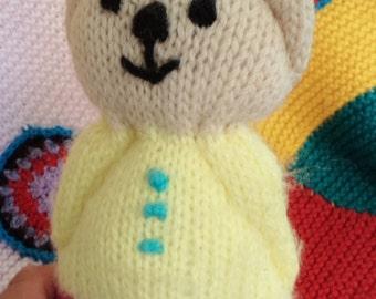 70s teddy bear, vintage teddy bear, knitted bear, crocheted teddy, kitsch toys, kitsch bear, kitsch home, 70s decor, 70s home