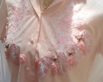 pink embroidered top,50s blouse, upcycled top, pink floral top, pink summer shirt, pink vintage top, beaded top, flower appliques