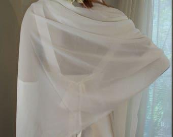 1920s 1930s Style Sheer White Chiffon Wedding Shawl One Size Fits All Rectangular