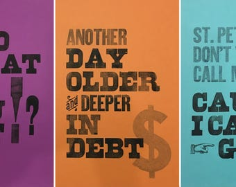 16 tons letterpress poster series