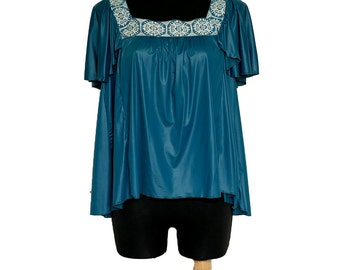 New woven band decorated turquoise top, relaxed top, short sleeves blouse, boho, ethnic emerald green tunic