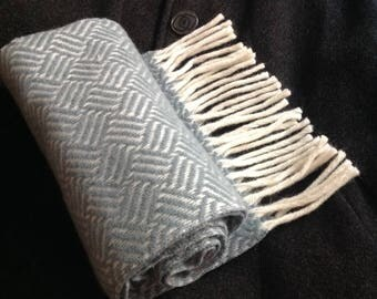 Herringbone Wool Scarf Grey Gray Long