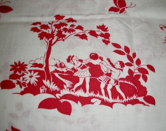 Vintage Feedsack Cotton NOVELTY Quilting Fabric  //  Juvenile Children Playing Birds Red & White  //  36 x 44
