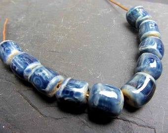 Beads Ceramic 'Glassy Blue Square Eye' Patterned Beads Handmade Clay Pottery 500