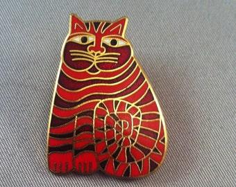 Vintage Laurel Burch Red Enamel SHAMBALA Cat Brooch Pin, Laurel Burch Brooch Pins, Shambala Cat Pin, Designer Signed Jewelry, USA ONLY