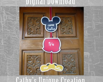 Come Inside It's Fun Inside Banner, Mickey Mouse Clubhouse, Disney, Birthday Party, Ears, Printable, Download, DIY, Sign, Letter, A4 size