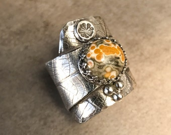 Ocean Jasper and Sterling Silver Ring - Wide Band Leaf Textured Ring - One of a kind Size 6.5 Ring - Unique Silver and Stone Statement Ring