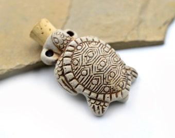 Turtle Bottle Pendant, 1pc,   Turtle  Pendant,   High Fired Clay Bottle,  Turtle Pendant -R92