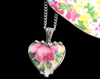 Broken china jewelry heart shaped pendant necklace antique Rosalynde chintz pink rose