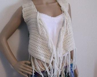 Hand Crochet Hippie Fringe Vest, Festival Vest, Crochet Mini Vest, Festival Wear, Bolero length vest, Fringe Vest, Hippie Chic,