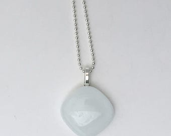 White Mini Fused Glass Pendant