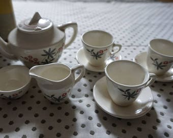 Vintage Children's Toy Tea Set with original packaging