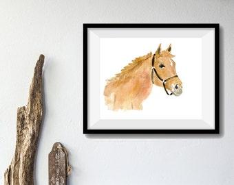 Ginger horse,art print ,horse art, animal art, Equestrian art,  nursery art, horse lovers,horse watercolor
