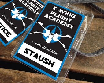 Star Wars X-Wing Flight Academy Badges - Rebellion Badges, Star Wars Party - blue   Editable Text - DIY Instant Download PDF Printable