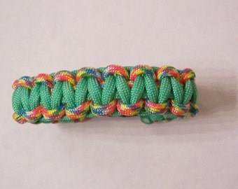 Cobra weave paracord survival bracelet Confetti and Mint Green