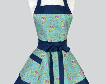 Ruffled Retro Womans Apron , Aqua and Navy Lesiurely Paisley Scroll Cute Retro Vintage Style Pin Up Apron to Personalize or Monogram