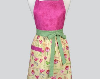 Blossom Womens Full Apron . Birds and Flowers on Soft Yellow Mothers Day Cute Hostess or Wedding Apron Large Pocket