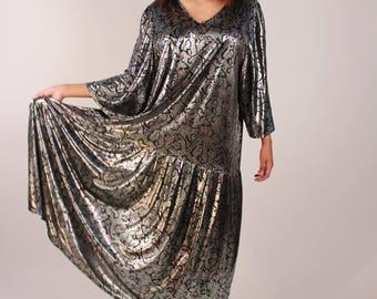 Vintage 80s Disco Metallic Maxi Dress